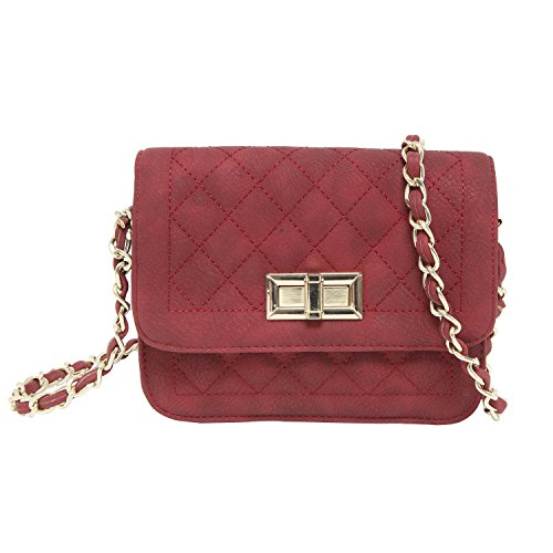 Inspired Designer Handbag Bag (MG Collection Designer Inspired Mini Burgundy Quilted Diamond Pattern Crossbody Satchel)