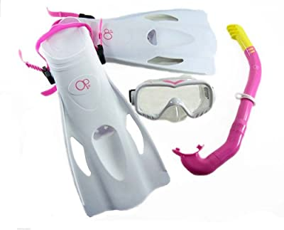 Youth Mask,Fin, Snorkel Set Package for Snorkeling and swiming Ages 6-12 (White)