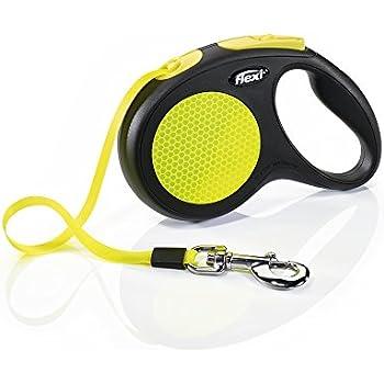 Flexi New Neon Retractable 16' Dog Leash Tape, Medium-Large, Black/Neon