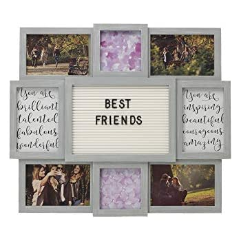 MELANNCO Customizable Letter Board with 8-Opening Photo Collage, 19