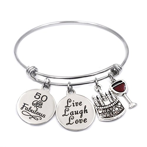 Stainless Steel Expandable Wire Charm Bangle 50th Happy Birthday Bracelets Jewelry Gifts for 50 Year Old Women (50th Birthday Gift For Woman)