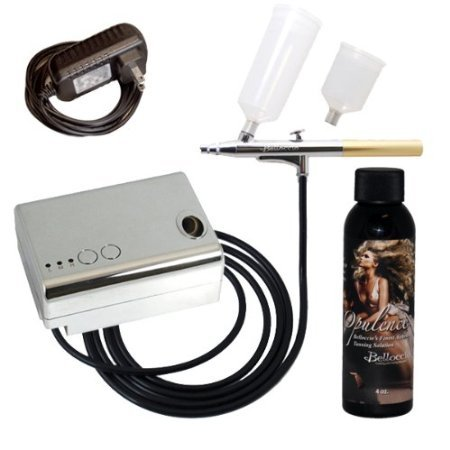 Tanning System Self (Belloccio® Brand Complete Professional Sunless Tanning Airbrush System That Includes Our Premium Belloccio Airbrush, Compressor & Hose and a 4 Ounce Bottle of
