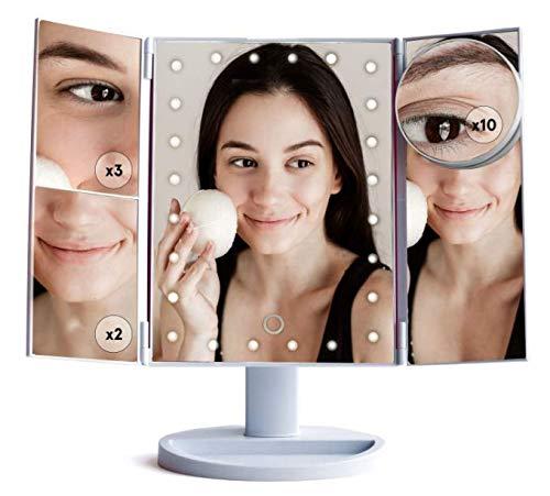 *Nouveau* Miroir grossissant de maquillage - 2x, 3x, 10x Attachement portatif, rotation de 180 ° Illuminé avec 24 lumières de LED Miroir cosmétique tri-pliable réglable. Alimenté par un câble USB (inclus) Grace & Stella Co.