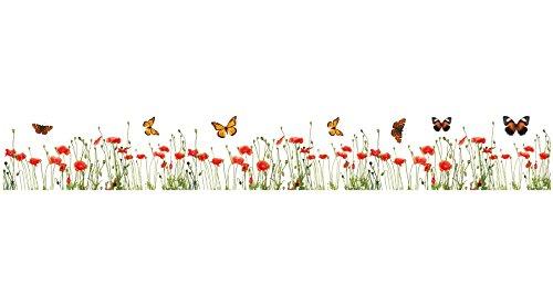 Poppy Border - Crearreda CR-53002 Poppies and Butterflies Border Decal