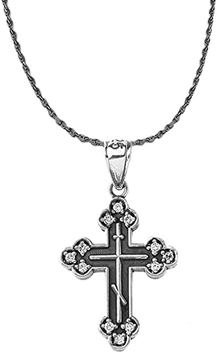 Claddagh Gold 925 Sterling Silver Vintage CZ Eastern Orthodox Cross Pendant Necklace 18