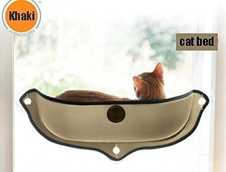 Sellify Hamaca para Gatos con Ventosa para Ventana, Soporte de Cama (Khaki)