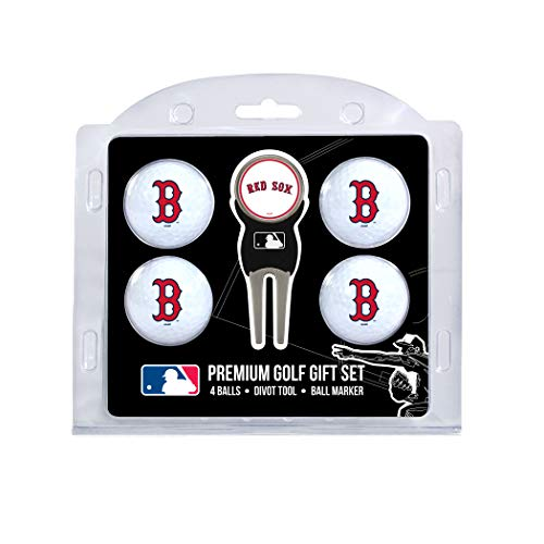 Team Golf MLB Boston Red Sox Regulation Size Golf Balls (4 Count) & Divot Tool with Removable Double-Sided Magnetic Marker