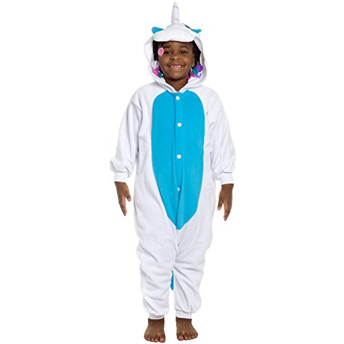 Boxer Girl Costumes (Silver Lilly Kids Unicorn Animal Costume - Childrens One Piece Pajamas (Blue, Y))