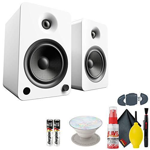 Kanto Living YU6 Powered Bookshelf Speakers - Matte White - AAA Batteries - Opal Popsocket and More