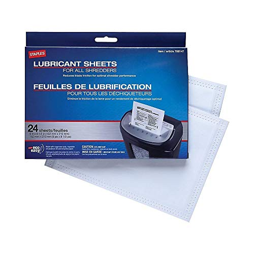 Staples Shredder Lubricant Lubricating Sheets 24/pk