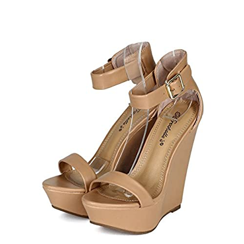 32a08a4cbb45 60%OFF Breckelles CB04 Women Leatherette Single Band Ankle Strap Platform  Wedge Sandal - Natural