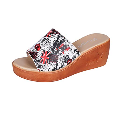 Musan Summer Women's Slippers Casual Wedges Retro Printed Open Toe Beach Shoes Flatform Non-Slip New Wild Fairy Sandals Red