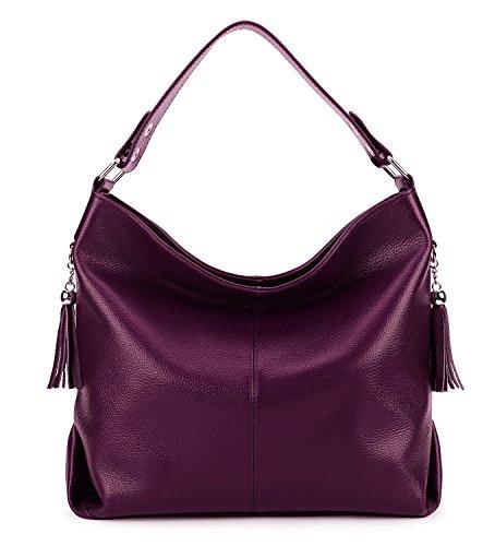 BIG SALE-AINIMOER Womens Leather Vintage Shoulder Bag Ladies Handbags Large Tote Top-handle Purse Cross Body Bags(Purple)