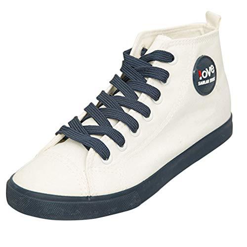 Classique Haut Chaussures Montante Gtagain Étudiant Mode Lacets Casual Air Baskets Skateboard En 1 Bleu À Espadrilles Femme Plein Filles Entraîneurs Compensées wrIxI5t