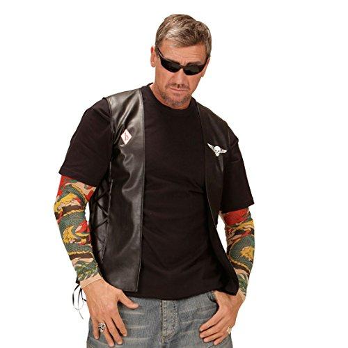 Rocker Lederweste Motorrad Rockerweste M/L 50/52 Totenkopf Bikerweste Biker Weste Karneval Kostüm Zubehör Hardrock Kunstlederweste Gothic Skull Motorradweste