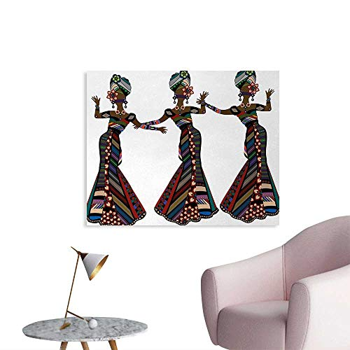 Tudouhoho African Woman Custom Poster Young Women in Stylish Native Costumes Carnival Festival Theme Dance Moves Corridor/Indoor/Living Room Multicolor W48 xL32 -