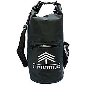 Outwestfitters Waterproof Floating Dry Bag Backpack - 10L Roll Top Compression Sack holds Phone, Camera - Front Zipper Pouch, Water Bottle Holder - Kayaking, Rafting, Beach, Camping, Boating, Fishing