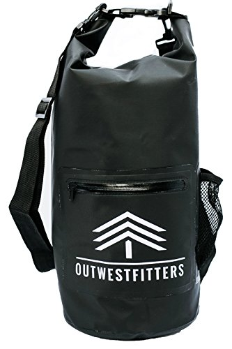 Outwestfitters Waterproof Floating Dry Bag Backpack - 10L Bags hold Phone and Camera - Front Zipper Pouch and Water Bottle Holder for Beach, Travel and Water Sports - Camping Swimming Boating Kayaking