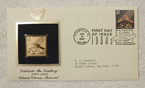 Vietnam Veterans Memorial - Celebrate the Century (The 1980s) - FDC & 22kt Gold Replica Stamp plus Info Card - Postal Commemorative Society, 2000 - Washington DC, Monument, Vietnam War