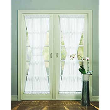 918 Emily Sheer Voile Single Curtain Door Panel 59 x 72 Inch White