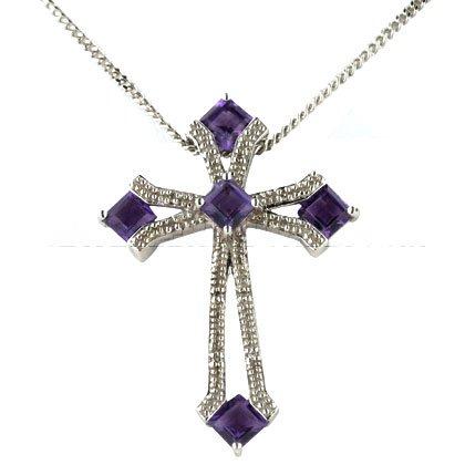 & blanc 9 carats-Améthyste-Diamant-Pendentif Or Croix Occitane