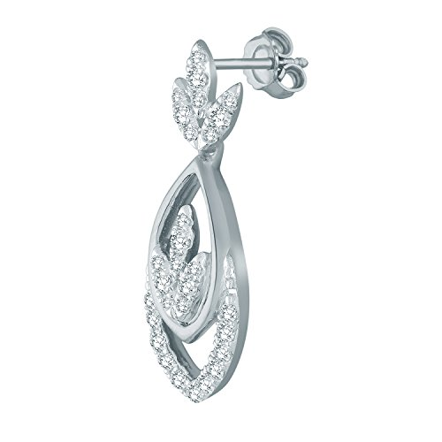 Giantti Diamant pendant matelassé pour femme Boucles d'oreilles (0.3724CT, VS Clarté, Gh-colour)