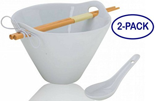 Tasse Verre Porcelain Ramen Noodle Soup Bowl with Bamboo Chopsticks and Ceramic Spoon (20 Ounce Bowl)- White - 2-Pack by Tasse Verre