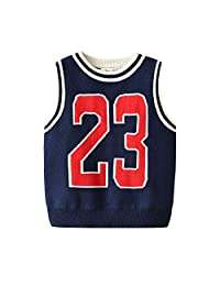 Auro Mesa Kids Boys Knit O-Neck Sports 23 Sweater Vests Cotton Fit Casual Pullover