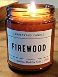 FIREWOOD - Authentic Wood Fire Scent Cotton Wick Candle in Amber Jar with Black Lid 9 oz Best Seller Since 2012