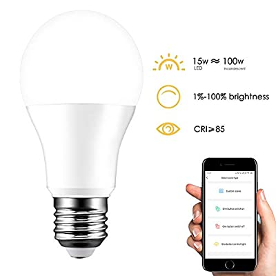 Houkiper Smart LED Light Bulb,E26 15W(Equivalent 100W) 1500LM Dimmable WiFi Bulb Compatible with Alexa and Google Home,IFTTT,Cold White 5700K
