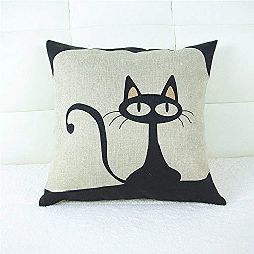 18 X 18 Inch Cotton Linen Decorative Throw Pillow Cover Cushion Case, Cartoon Black Cat]()