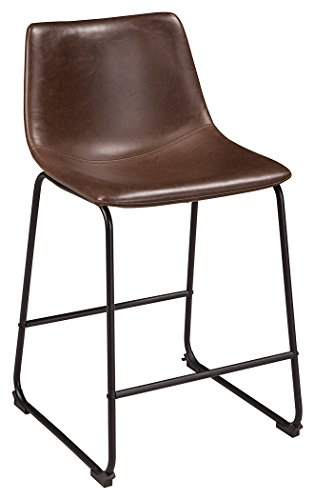 Ashley Furniture Signature Design - Centiar Counter Height Barstool - Set of 2 - Casual - Black Metal Base - Brown Faux Leather Bucket Seat