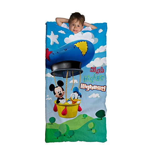 KIds Boys Blue Disney Junoir Mickey Mouse Clubhouse Themed Sleeping Bag, Mickey Mouse Donald Duck Air Balloon Iconic Cartoon Character Motif Sleep Sack Blanket, Green Light Travel Bed Roll, Polyester (Balloon Motif)