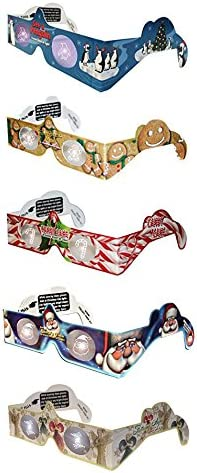 Office Parties 3D Christmas Glasses Fun for The Family Stocking Stuffers 5 Pairs // 5 Turn Christmas Tree /& Holiday Lights into Magical Images Secret Santa