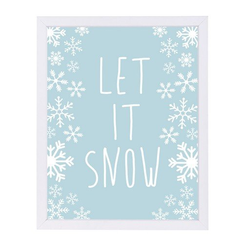 "Americanflat Light Blue Let It Snow White Frame Print by Jetty Printables, 9"" H x 11"" W x 1"" D"