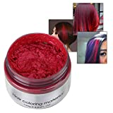 SUNSENT Colored Hair Wax,Wine Red Instant Hair Wax Washable Matte DIY Hairstyle Pomade
