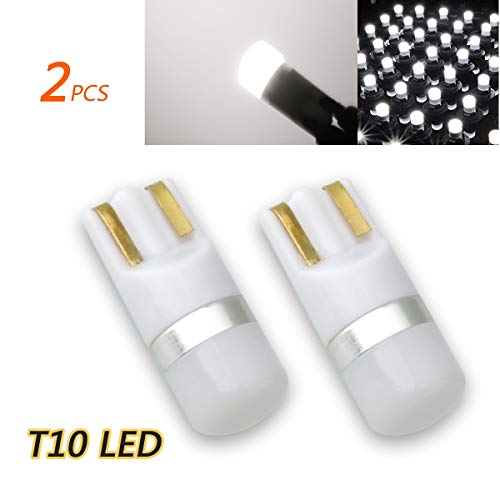 TORIBIO White DC12V 3030 Chipsets 194 168 T10 175 2825 LED Bulbs for Map Door Dome Glove Compartment Trunk License Plate Lights(2 Pieces) ()