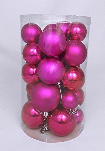 Weihnachtskugeln Pink.Christbaumkugeln 30er Set Weihnachtskugeln In 4 Verschiedenen Größen Material Kunststoff Pink