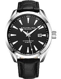 Stuhrling Original - Reloj analógico con fecha, correa de piel de becerro o pulsera de acero inoxidable, colección 3953 relojes para hombre, Negro (Leather/Black)