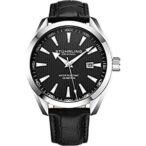 Stuhrling Original Mens Watch Analog Dial with Date – Calfskin Leather Strap or Stainless Steel Bracelet, 3953 Watches for Men Collection