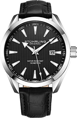 Stuhrling Original Mens Black Wrist Watch Analog Dial with Date - Black Calfskin Leather Band, 3953 Luxury Watches for Men Collection
