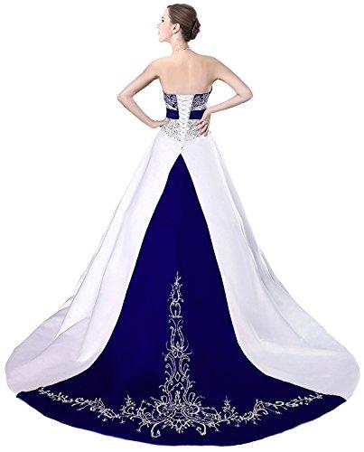 Edaier Women's Court Train Satin Wedding Dress Bride Gown Size 18 White Royal