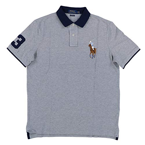 Polo Ralph Lauren Mens Classic Fit Big Colored Pony Polo Shirt (Medium, Soft Grey) (Ralph Lauren Gestreiftes Polo)