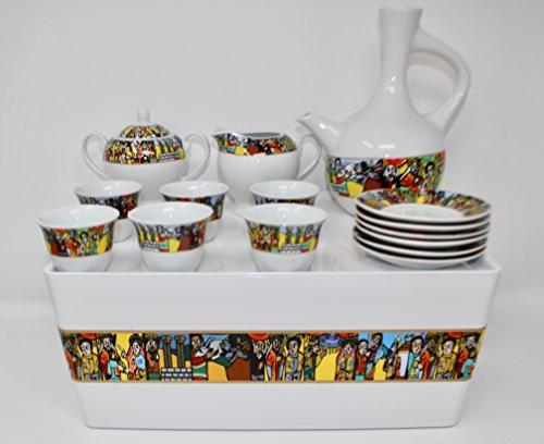 Ethiopian/Eritrean Coffee Cups with Rékébot, Abyssinian Coffee, Saba Coffee Cups, Rekebot, Ethiopian art, Eritrean Coffee, Habesha Coffee, Ethiopian Coffee ceremony, Full coffee Set