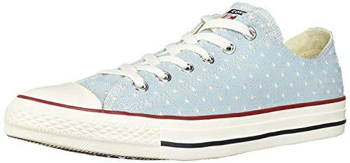Converse Unisex Chuck Taylor Perforated Stars Low Top Sneaker, ocean bliss/garnet, 4 M US Men's size / 6 M US Women's size