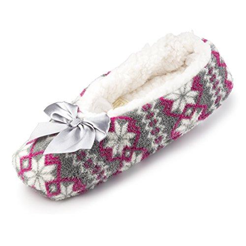 Pantoufles De Maison De Bande Dessinée Floue De Molleton De Maison Pour Des Femmes W / Doublure De Sherpa | Ballerine Confortable Chaussures Dintérieur Jacquard