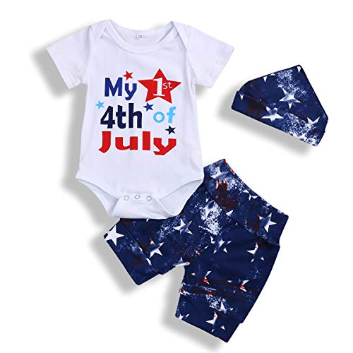 Baby Boys Girls Outfits My First 4th of July Short Sleeve Romper +American Flag Shorts + Hat Clothes Set Summer (White, 12-18 Months)