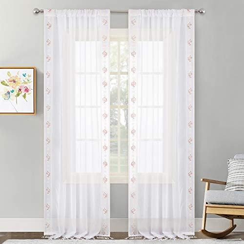 NICETOWN W54 x L108 White Extra Long Faux Linen Sheer Curtains for Living Room, Rod Pocket 2 Sides with Rose Embroidery Trim Seam Bottom with Lace Crochet Border, Set of 2