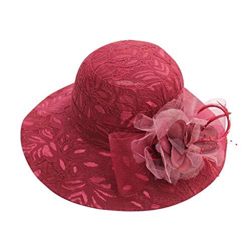 - TANGSen Women's Hat Church Kentucky Derby Fascinator Bridal Tea Party Outdoor Wedding Beach Sun Hat Wine Red
