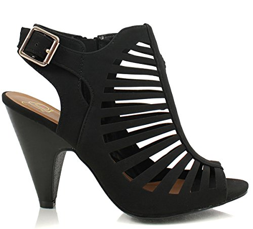 Charles Albert Women's Gladiator Strappy Cage Stacked Mid Heel Ankle Bootie (8, Black) ()